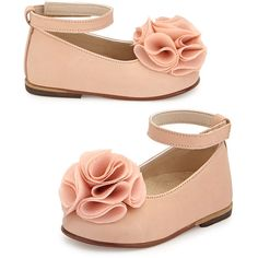 Babywalker Leather Floral-Trim Ballet Flat ($70) ❤ liked on Polyvore featuring kids, shoes, kids shoes sandals and salmon