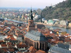Heidelberg, Germany - This is one of the beautiful views from atop the Heidelberg Castle & that church is Holy Ghost Church (which is also beautiful to see inside)