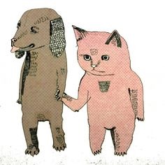 Cat and Dog - Fotobehang & Behang - Photowall