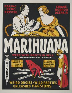Check out the deal on Marihuana, Weed with Roots in Hell - Medicine Posters at Vintage Pinup Wall Prints Marijuana Art, Cannabis, Party Eyes, Philadelphia Museum Of Art, Vintage Advertisements, Weird Vintage Ads, Vintage Humor, Travel Posters, Strand