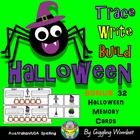 Halloween Trace, Write and Build Cards by Giggling Wombat | Teachers Pay Teachers