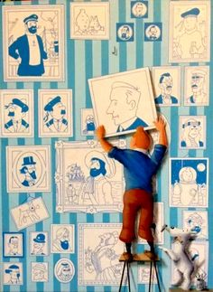 Hergé & Tintin / Tintin hangs a portrait of his creator on the wall of Tintin fame