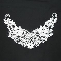 White guipure lace neckliner motif, $3.00 each. http://www.alacraft.com.au/white-guipure-lace-neckliner-motif-164.    Stitch or sew on. Ideal for decorating clothing especially for tops when the neckline is too low. Can also be used as a base embellishment for wedding dresses, costumes and dance wear.