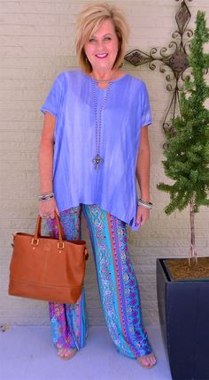 50 IS NOT OLD   YOU HAD ME AT LILAC   Colorful   Printed Pants   Palazzo   Casual   Oversized   Fashion over 40 for the everyday woman