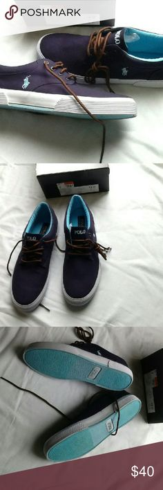 🔥SALE🔥 Polo Felton canvas sneakers Brand bew, in box. However, the store cut the lid off of the box for display. Navy blue with light blue inside and horseman. Brown cloth shoestrings. Polo by Ralph Lauren Shoes Sneakers