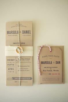 Love these kraft wedding invitations! // Photographer: Reign 7 Photography, Venue: Gasparilla Inn & Club, Flowers & Decor: Botanica International Design Studio // see more: http://theeverylastdetail.com/2013/08/28/timeless-garden-inspired-aqua-peach-wedding/