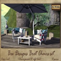 #secondlife BEE DESIGNS – BOAT CHAIRS SET – COUTURE CO EVENT - https://secondsocial.eu/bee-designs-boat-chairs-set-couture-co-event/