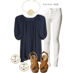 """""""navy and white"""" by taytay-268 on Polyvore"""