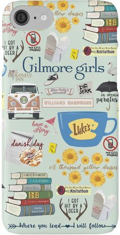 Gilmore Girls phone case. So many favorites from Gilmore Girls! A stack of classic novels, Hep Aliens sandwich tour van, Rory's 21st birthday cocktail, and what's a danish without a cup of coffee from Luke's Diner? So many memories from our favorite town of Stars Hollow