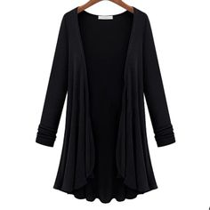 Autumn Winter New Casual Loose Long Flounce Hem Women Coat Poncho Cardigan Feminina Blouse Shirt Thin Jacket Plus Size