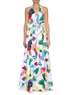 Isolda Isolda halterneck Niemeyer-print dress