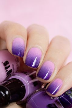 Gradient Purple Nails - Review  Might be cute to do on my toes only in hot pink to royal blue forthe Wedding.