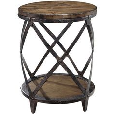 Featuring 1 lower shelf and a distressed metal and pine wood frame, this striking accent table adds an industrial-chic touch to your living room or master su...
