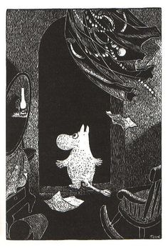 Tove Jansson_Moomin looked out of the window. The wind blew the curtains away from the dark into the light. Moomin Books, Moomin Valley, Tove Jansson, Children's Book Illustration, Conte, Troll, Book Art, Fairy Tales, Sketches