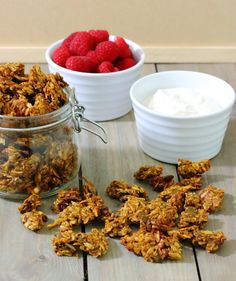 Pumpkin Spice Granola Recipe - Loaded with the flavours of fall and sweetened with honey, these chewy, spicy clusters make a great breakfast or dessert parfait.