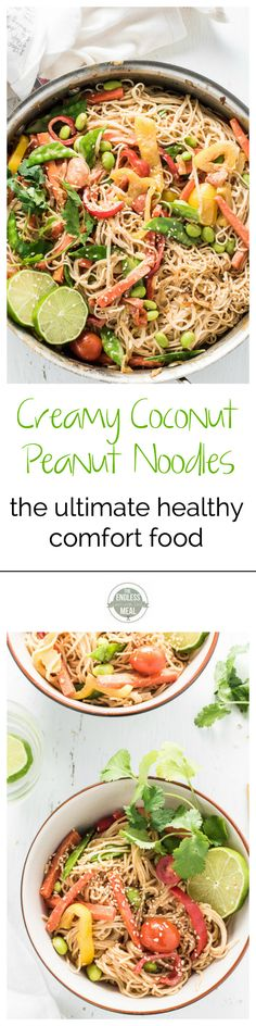 Creamy Coconut Peanut Noodles are the ultimate comfort food. They're also a super easy to make and healthy Meatless Monday vegetarian (and vegan!) dinner recipe. | theendlessmeal.com