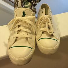 Male Shoes Size 12 Cream & Green. Need cleaning as you can see in soles but cloth is cleans. No trades Please use offer button. Polo by Ralph Lauren Shoes Sneakers