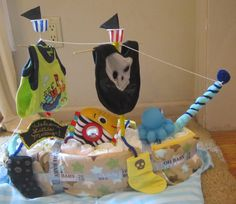 """Diaper pirate ship I made for my friend Emilee's baby shower. Her husband likes pirates. """"Welcome Little Matey"""""""