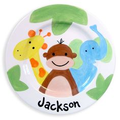 This hand-painted ceramic plate will makes a special baby gift. Dishwasher safe.