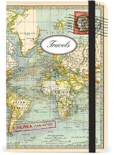 "Cavallini World Map Par Avion Journal - 4"" x 6"""