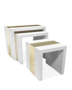 An Ikea hack waiting to happen Lacquer & Brass Nesting Tables by Jonathan Adler at Horchow.