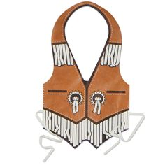 The Western Vest is made of a plastic material and ties in the back. This vest makes an instant fun costume that is perfect for any western party, play date, or barbecue. One size will fit most.