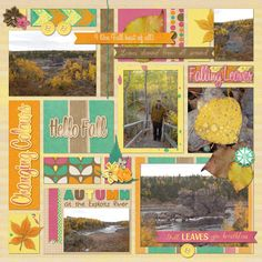 Thanksgiving Walk - Left Page of a double.  Kit is Autumn Crush by Lisa Rosa Designs and Template is Stronger (freebie) by Kim B. Designs. Digital Scrapbook Layout by Kaytea.