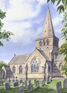 A watercolour by Sylvia Twiss Watercolor Artists, Watercolor Paintings, Watercolours, Church Building, Medieval, Art Projects, Ancestry, Journal Ideas, Gallery