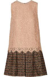Dolce & GabbanaLace and tweed mini dress