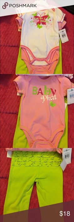 Baby Phat 3 pc set size 3 to 6 months NWT NWT Baby Phat 3 piece set in a size 3-6 months. Super cute green ruffled stretch pants and 2 onsie tops. Smoke free home. Thanks for the interest and God Bless Baby Phat Matching Sets