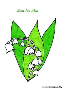 activité manuelle : 1er mai : muguet Grinch, May 1, Lily Of The Valley, Cards, Embroidery