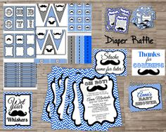 Everything COMBO Chevron Mustache Baby Shower Party by DandeAve, $30.00