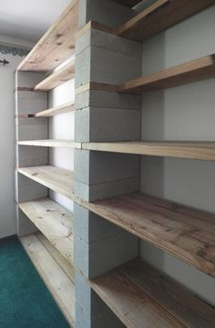 I& been wanting photos of my Cinder Blo . I& been wanting to share photos of my Cinder Block bookshelves for a long time … Garage Organization, Garage Storage, Diy Storage, Storage Shelves, Storage Ideas, Recycling Storage, Shelf Ideas, Organizing, Basement Storage
