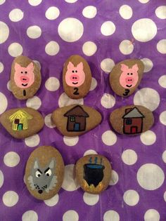 The three little pigs story stones.