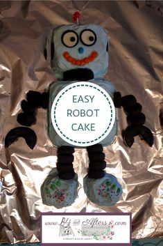 Simple Robot Cake - and Afters Robot Cake, Lego Cake, Fondant Cupcake Toppers, Cupcake Cakes, Cupcakes, Lego Font, Marshmallow Fondant, Blue Food Coloring, Whipped Cream Frosting