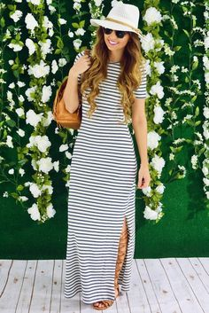 Long White-Black Stripes Maxi That One Can Pair With Hat, Black Glares, Flat Gladiators And A Small Cute Bag Pack.