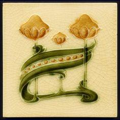 Art Nouveau Majolica Tile - Date: circa 1905