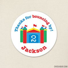 Bounce House Party Favor Stickers Sheet of 12 or 24 by Chickabug