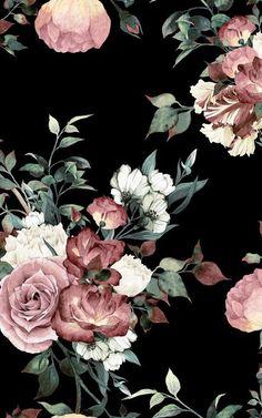 Vintage rosa und cremefarbene dunkle Blumen Tapete - Murals Wallpaper Pink home decor is a hot indoo Black Floral Wallpaper, Floral Wallpaper Iphone, Vintage Floral Wallpapers, Dark Wallpaper, Trendy Wallpaper, Flower Wallpaper, Cute Wallpapers, Dark Phone Wallpapers, Wallpaper Murals