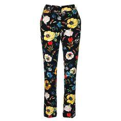 Blue Floral Cropped Capri Trousers Leggings Ex Miss Selfridge Size 8 10 12