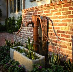 old water pump turned into a water feature...