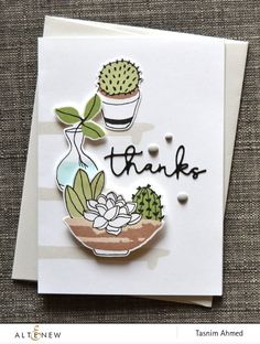 Thank you card with potted plants. This handmade card was created using Indoor Garden Stamp Set, and Signature Words Die Set. www.altenew.com