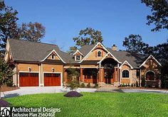Architectural Designs Exclusive House Plan 25604GE   * Over 3,400 sq. ft. on one floor + a bonus level * 2-3 beds on main with 2 more up if you build it out * Vaulted lodge room * Curved back deck with fireplace and outdoor kitchen  Ready to build! How 'bout you?