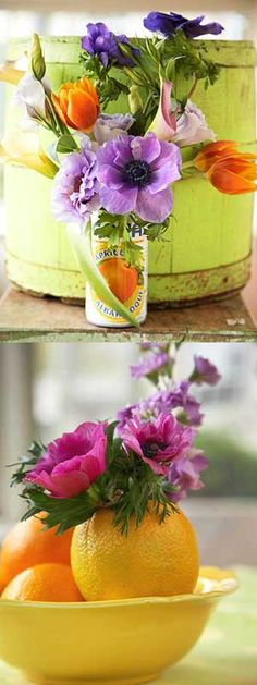 Just look around your house, you've probably got several containers setting around that would look fabulous with a flower arrangement in it. Here are a couple of nice ideas - hey an orange peel is even a great recycling idea! You don't have to clean anything - just toss it all into the compost when it wilts!