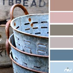 "rusticmeetsvintage: ""Vintage Wooden Crates and Zinc Grape Buckets by Holly Pickering, via Flick Vintage Wooden Crates, Wood Crates, Vintage Baskets, Wood Boxes, Olive Bucket, Purple Home, Galvanized Metal, Galvanized Buckets, Rustic Charm"
