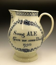 Large underglaze blue painted earthenware pitcher dated 1793