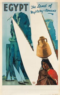 Egypt - The Land of Mystery & Romance, Artist: Ihap Hulusi. Egypt Tourism, Egypt Travel, Travel Ads, Old Ads, Sale Poster, Vintage Travel Posters, Vintage Art, Poster Prints, Art Posters