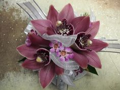 pink orchid corsage for wedding , events and prom. Prom Flowers, Wedding Table Flowers, Orchid Corsages, Wedding Events, Wedding Ideas, Corsage Wedding, Pink Orchids, Hair Piece, Floral Wreath