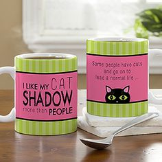 This Cat Lover personalized coffee mug is so cute! You can personalize it with your cat's name and any message on the back! Gotta love cats!