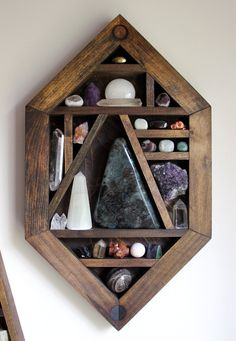 Premium Collection - NEW for displaying the rock collection Crystals And Gemstones, Stones And Crystals, Crystal Shelves, Rock Collection, Crystal Collection Display, Rocks And Minerals, Boho Decor, Wood Projects, Interior Decorating